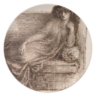 Señora Jane Morris Reclining en un sofá Plato Para Fiesta