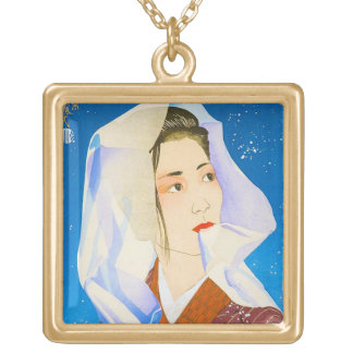 Señora japonesa clásica oriental fresca con el tej collar personalizado