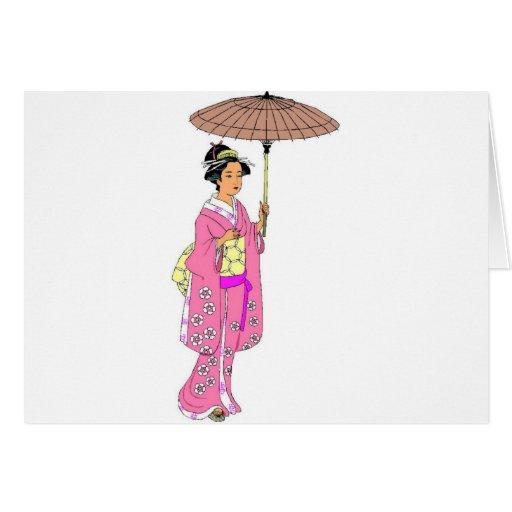 Señora japonesa con el paraguas felicitacion
