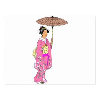 Señora japonesa con el paraguas tarjeta postal
