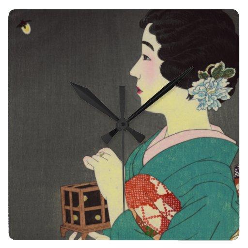 Señora japonesa con la jaula de la luciérnaga reloj cuadrado