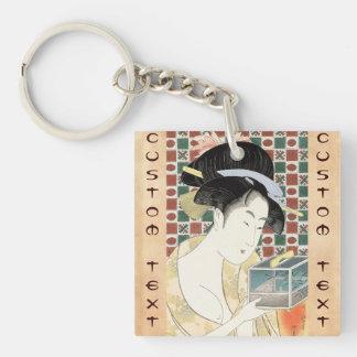 Señora japonesa de la belleza de la jaula del inse llavero cuadrado acrílico a doble cara