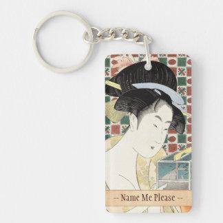 Señora japonesa de la belleza de la jaula del inse llavero rectangular acrílico a doble cara