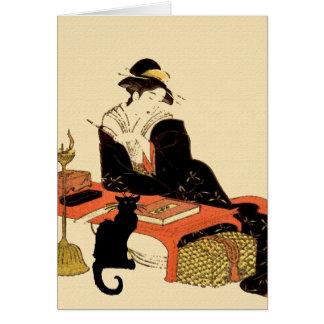 Señora japonesa del gato negro tarjeta de felicitación