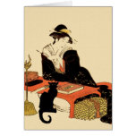 Señora japonesa del gato negro tarjetas