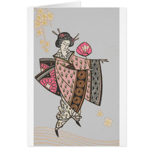 Señora japonesa en kimono rosado tarjeta de felicitación