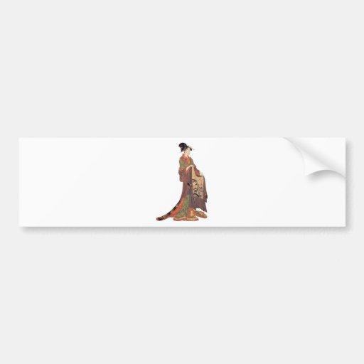 Señora japonesa etiqueta de parachoque