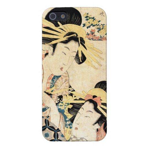 Señora japonesa fresca del geisha del ukiyo-e dos  iPhone 5 fundas