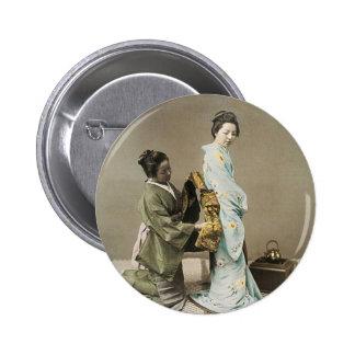 Señora japonesa Geisha Asian Vintage Art Pin Redondo De 2 Pulgadas
