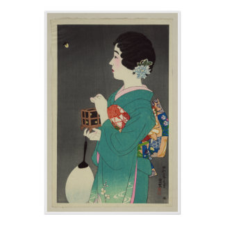 Señora japonesa Holding Cage de luciérnagas - 1931 Póster