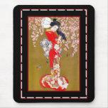 Señora japonesa Vintage Poster del geisha del arte Alfombrillas De Ratones