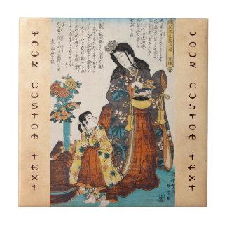 Señora japonesa y niño del ukiyo-e clásico del vin azulejo cerámica