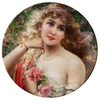 Señora joven con los rosas de Emilio Vernon Plato De Cerámica