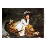 Señora joven de James Tissot en un barco Tarjeta De Felicitación