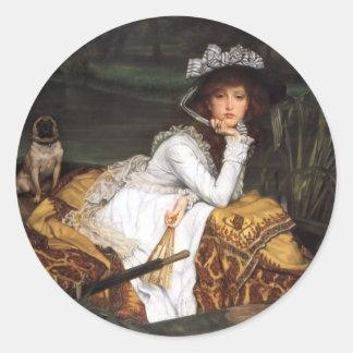 Señora joven de Tissot y pintura antigua del barro Pegatina Redonda
