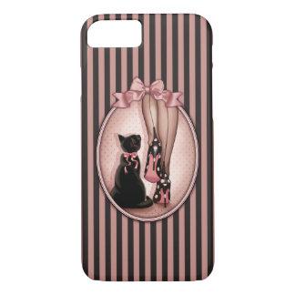 Señora joven elegante y gato negro funda iPhone 7