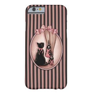 Señora joven elegante y gato negro funda para iPhone 6 barely there