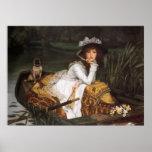 Señora joven en un barco poster