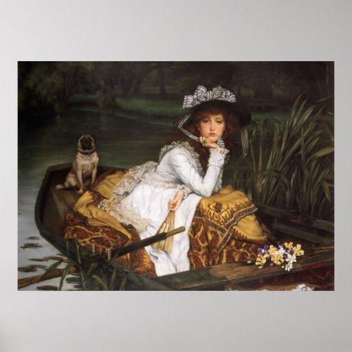 Señora joven en un barco póster