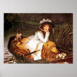Señora joven en una bella arte del ~ de James Tiss Impresiones