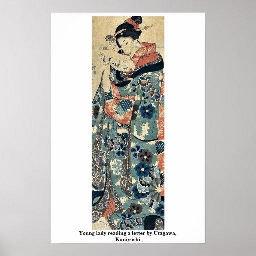 Señora joven que lee una letra por Utagawa, Kuniyo Poster