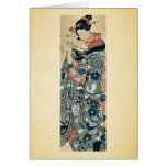 Señora joven que lee una letra por Utagawa, Kuniyo Tarjeta