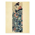 Señora joven que lee una letra por Utagawa, Kuniyo Tarjetas Postales