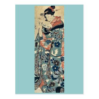 Señora joven que lee una letra por Utagawa, Kuniyo Tarjeta Postal
