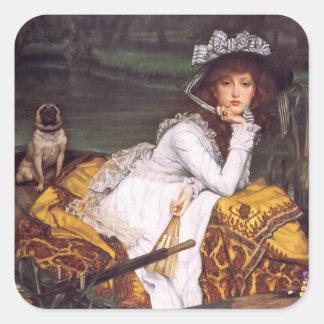 Señora joven y su barro amasado del mascota en un pegatina cuadrada