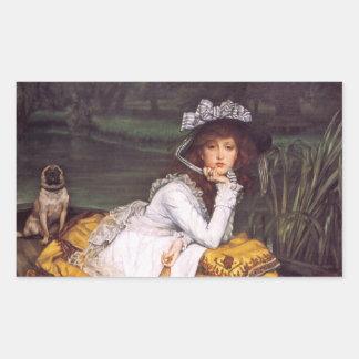 Señora joven y su barro amasado del mascota en un pegatina rectangular