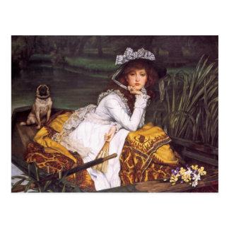 Señora joven y su barro amasado del mascota en un postal