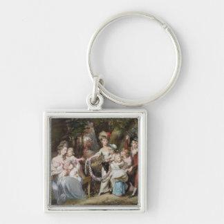 Señora Justinian Casamajor y ocho de sus niños, Llavero Cuadrado Plateado