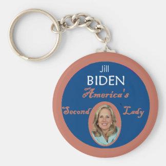 Señora Keychain de Biden segundo Llavero Redondo Tipo Pin