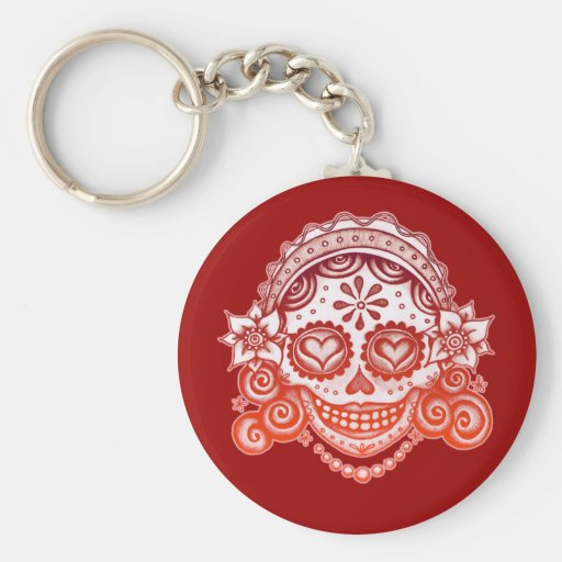 Señora Keychain - La Catrina del cráneo del azúcar Llavero Redondo Tipo Pin