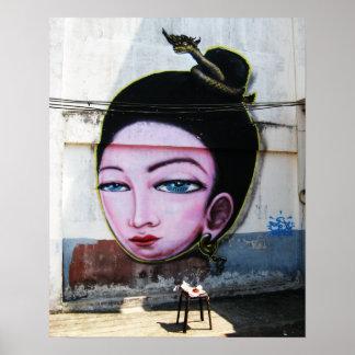 Señora Lao Graffiti Street Art Póster
