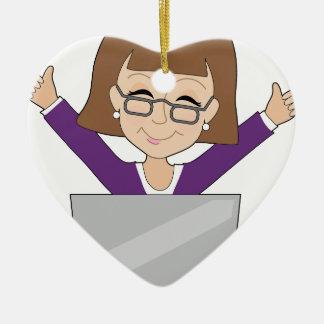 Señora Laptop del negocio Adorno De Cerámica En Forma De Corazón
