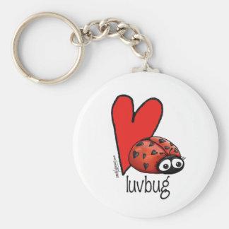 Señora Lashes Lovebug - tarjeta del día de San Val Llavero Redondo Tipo Pin