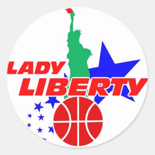 Señora Liberty Basketball Stickers Pegatina Redonda