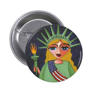 Señora Liberty - botón del vuelo Pin Redondo De 2 Pulgadas
