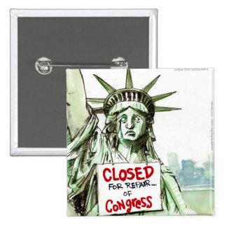 Señora Liberty Closed For Repair del congreso dive Pin Cuadrado