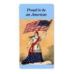 Señora Liberty con la bandera americana Etiquetas De Envío
