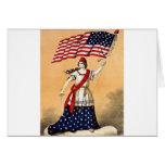 Señora Liberty con la bandera americana Felicitacion