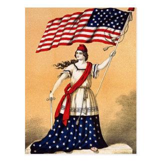 Señora Liberty con la bandera americana Tarjetas Postales