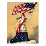 Señora Liberty de la bandera americana del vintage Postal