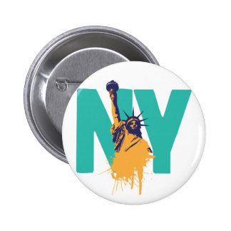 Señora Liberty de Nueva York Pin Redondo De 2 Pulgadas