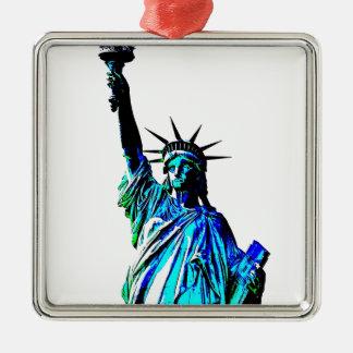 Señora Liberty del arte pop Adorno Navideño Cuadrado De Metal