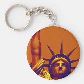 Señora Liberty del arte pop Llavero Redondo Tipo Pin