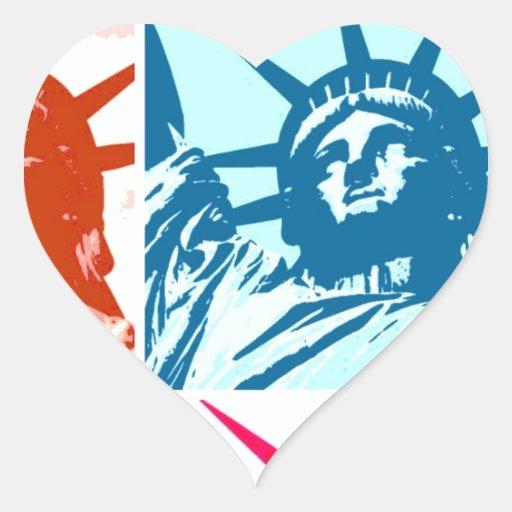 Señora Liberty del arte pop Calcomanías De Corazones Personalizadas
