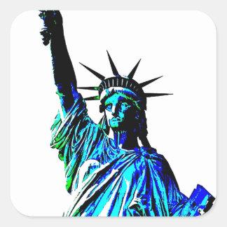 Señora Liberty del arte pop Pegatina Cuadrada