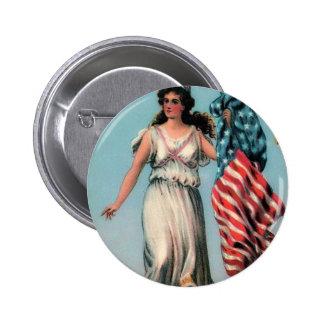 Señora Liberty del vintage Pin Redondo De 2 Pulgadas
